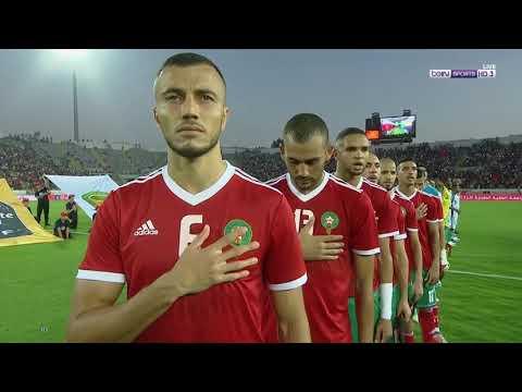 لحظة عزف النشيد الوطني في مباراة الأسود وجزر القمر