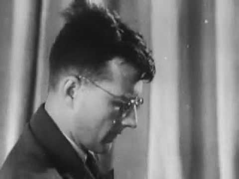 Shostakovich plays a fragment of his 7th symphony. 1941