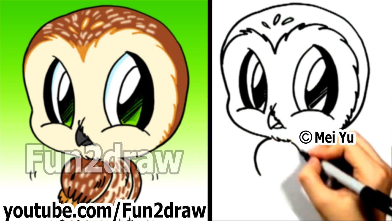 How to Draw a Cartoon Owl - How to Draw Birds Easy ...