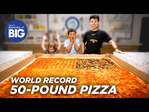 I Made A Giant 50-Pound Pizza For Two Little Kids ? Tasty