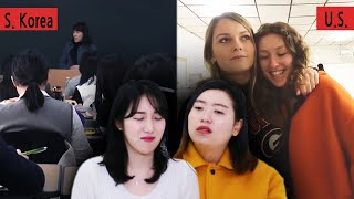 Koreans in their 30s React To American VS Korean High School Vlogs