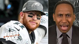 Stephen A. gets heated talking about Carson Wentz and Eagles' receivers | First Take