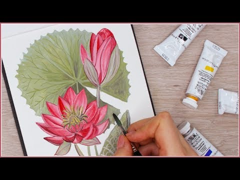 How to Paint a Water Lily Lotus Flower with Gouache Step by Step // Art Journal Thursday