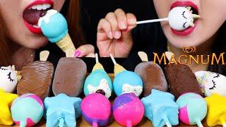 ASMR CAKE POPS (UNICORN CAKE + CHOCOLATE MAGNUM ICE CREAM BARS) 초콜릿 케이크팝 리얼사운드 먹방 | Kim&Liz ASMR