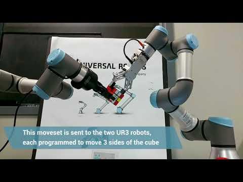 How two UR3 robots solve a Rubik's Cube