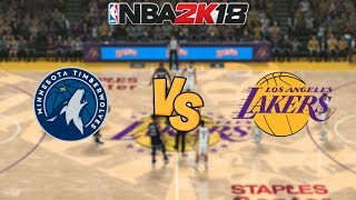NBA 2K18  - Minnesota Timberwolves vs. Los Angeles Lakers -  Full Gameplay (Updated Rosters)
