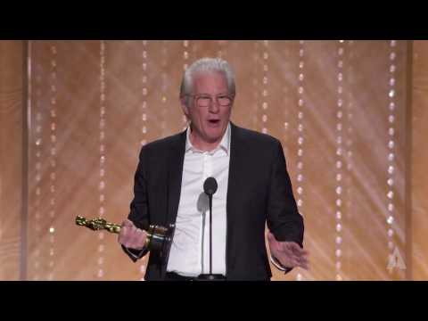Richard Gere honors Anne V. Coates at the 2016 Governors Awards