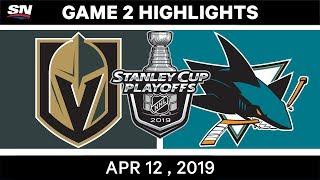 NHL Highlights | Vegas Golden Knights vs San Jose Sharks, Game 2 – Apr 12, 2019