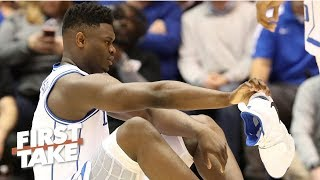 Zion's shoe blowout and injury 'couldn't be worse' for Nike - Max Kellerman   First Take
