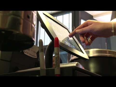 The Bouncepad iPad POS stand table mount at Kaffeine