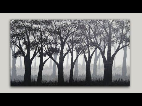 Forest Trees Acrylic Painting | Grayscale Silhouette Painting on Canvas | Painting Demonstration
