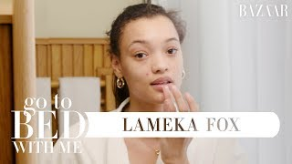 Model Lameka Fox's Nighttime Skincare Routine For Breakouts | Go To Bed With Me | Harper's BAZAAR
