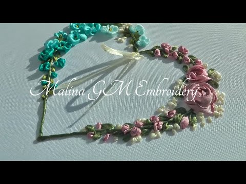 Ribbon Embroidery | Flower Heart | Design for beginners