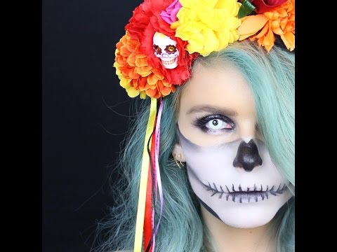 HALF SKULL HALLOWEEN TUTORIAL FOR BEGINNERS | RACHAEL BROOK