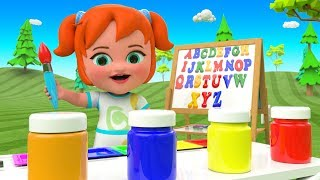 Drawing ABC Colors Little Baby Girl Fun Play Learn Alphabets A-Z 3D Kids Learning Videos Educational