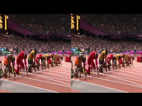 Jeux Olympiques Londres - 100m Finale Usain Bolt 3D stereo (Olympic Games London)