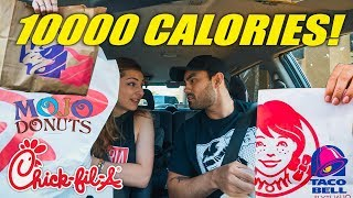 Letting The Person in Front of Me Decide What I Eat for a Day (10,000 Calorie Challenge)