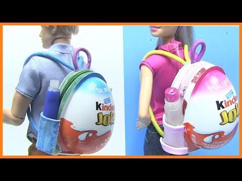 Độc Lạ Dễ Thương Ba Lô Búp Bê - Hướng Dẫn Làm Ba Lô Đi Học Cho Búp Bê Bằng Trứng Kinder Joy