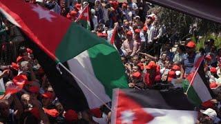 Jordanians protest in capital Amman amid strike over tax bill