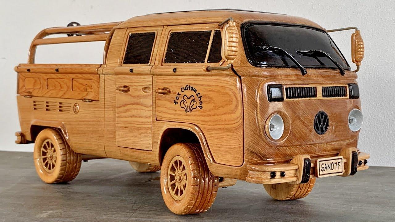 Wood Carving - Volkswagen Type 2 (1976) - Woodworking Art