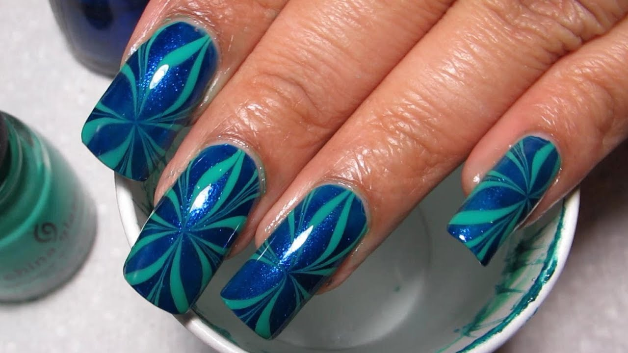 Blue Amp Green Star Water Marble Nail Art Tutorial Water Marble March 11 Youtube