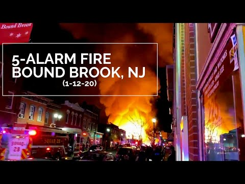 5-Alarm Fire Destroys Construction Site in Somerset County Bound Brook NJ 1-12-2020
