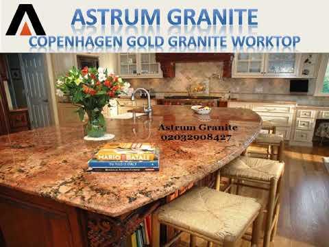 Copenhagen Gold Granite Kitchen Worktop in London UK - Astrum Granite