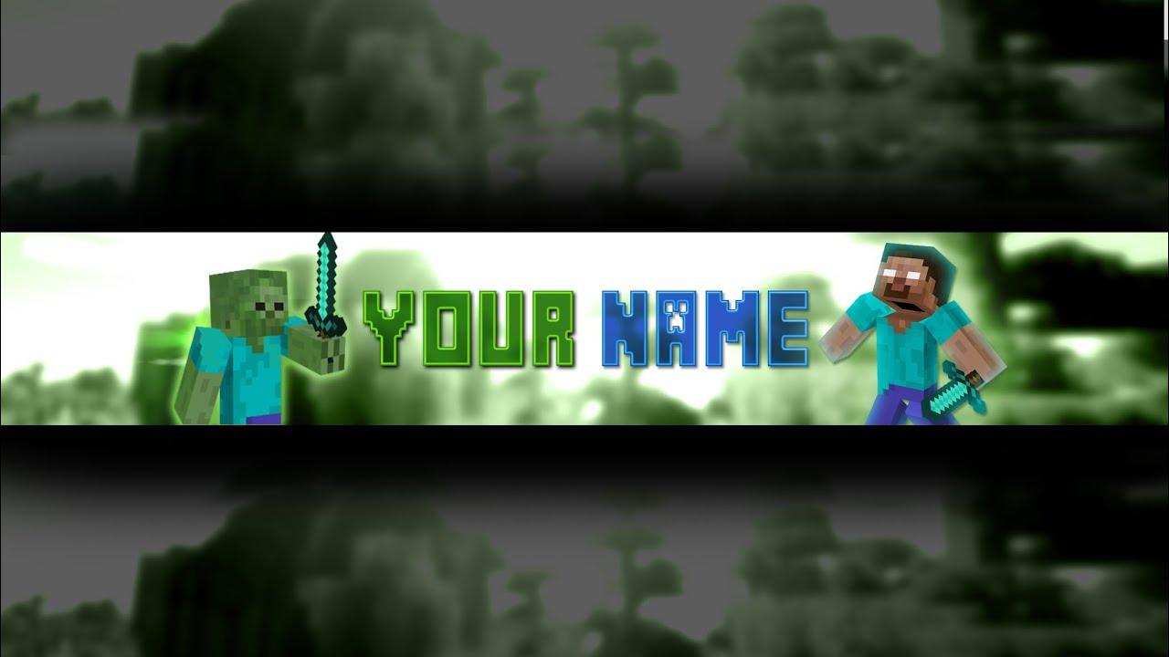 Photoshop Minecraft Banner/Channel Art Template (Download