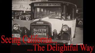 """ SEEING CALIFORNIA THE DELIGHTFUL WAY "" 1920s BUS TOUR  FILM  LOS ANGELES  SAN FRANCISCO XD49434c"