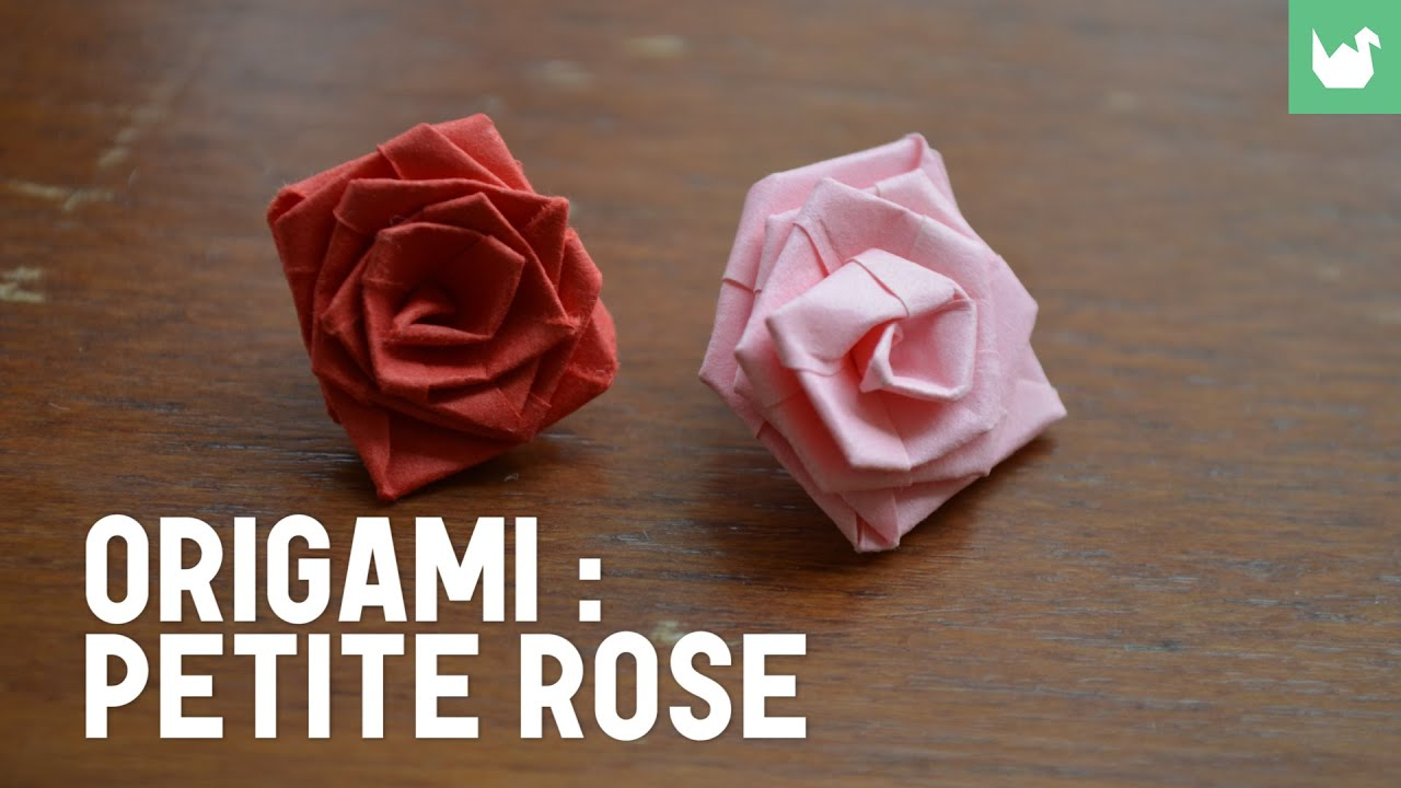 origami faire une petite rose en papier hd youtube. Black Bedroom Furniture Sets. Home Design Ideas