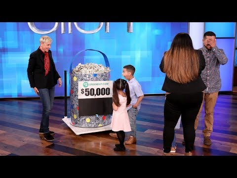 Ellen Gives Her Bucket of Savings to the Lopez Family