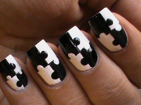 Puzzle nails art designs matte nail polish designs black and white short long nails