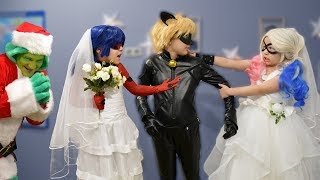 Harley Quinn wants to be bride. Battle Brides Ladybug vs. Harley Quinn. Who will choose the Cat Noir