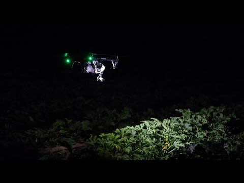 See how a farmer uses a drone equipped with dual RUGO lights to inspect his farm for damage after a flash rain/wind storm.