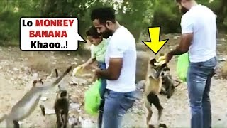 Irfan Pathan Son Imran Feeding Banana To Monkeys Will Melt..