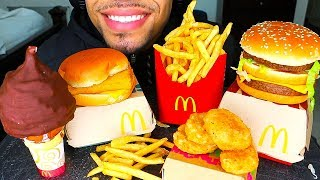 ASMR EATING MCDONALDS CHICKEN NUGGETS AND FRIES ICE CREAM CONE CHOCOLATE BIG MAC JERRY NO TALKING
