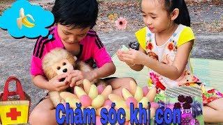 Stin Dâu & Câu Chuyện Khỉ Con Bị Ngã (^_^) - Khỉ ăn Rau Câu Chuối