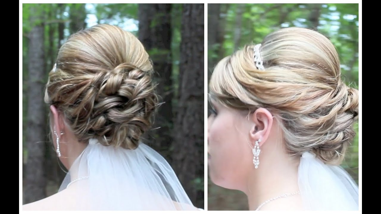 Bridal Updo On Shoulder Length Hair Youtube