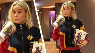 Brie Larson Surprises Moviegoers in a Captain Marvel Tracksuit!