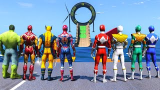 SPIDERMAN, HULK, IRONMAN VS POWER RANGERS | All SUPERHEROES Racing Challenge Sea Ramp Competition~!