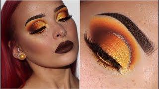 Brown Smokey Eye w/ Pop of Yellow   Makeup Tutorial