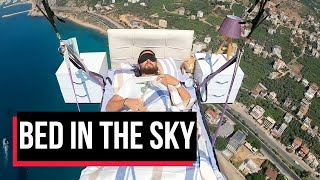 Bed in the sky: Man promotes paragliding in Turkey with un..