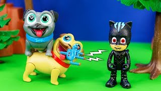 Puppy Dog Pals spooky Pretend Play with PJ Masks and Paw Patrol