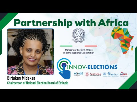 "Birtukan Mideksa, Chairperson of National Election Board of Ethiopia on the launch of ""Italian Partnership with Africa"" & InnovElections"