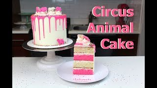Circus Animal Cake with Pink Drips | CHELSWEETS