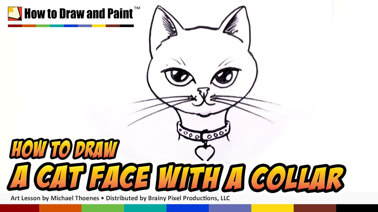 How To Draw A Cat Face With Collar And Heart Pendant