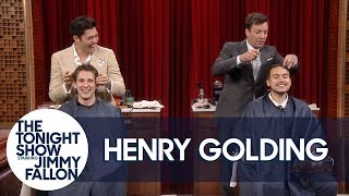 Henry Golding and Jimmy Fallon GiveHaircuts toRandom Audience Members