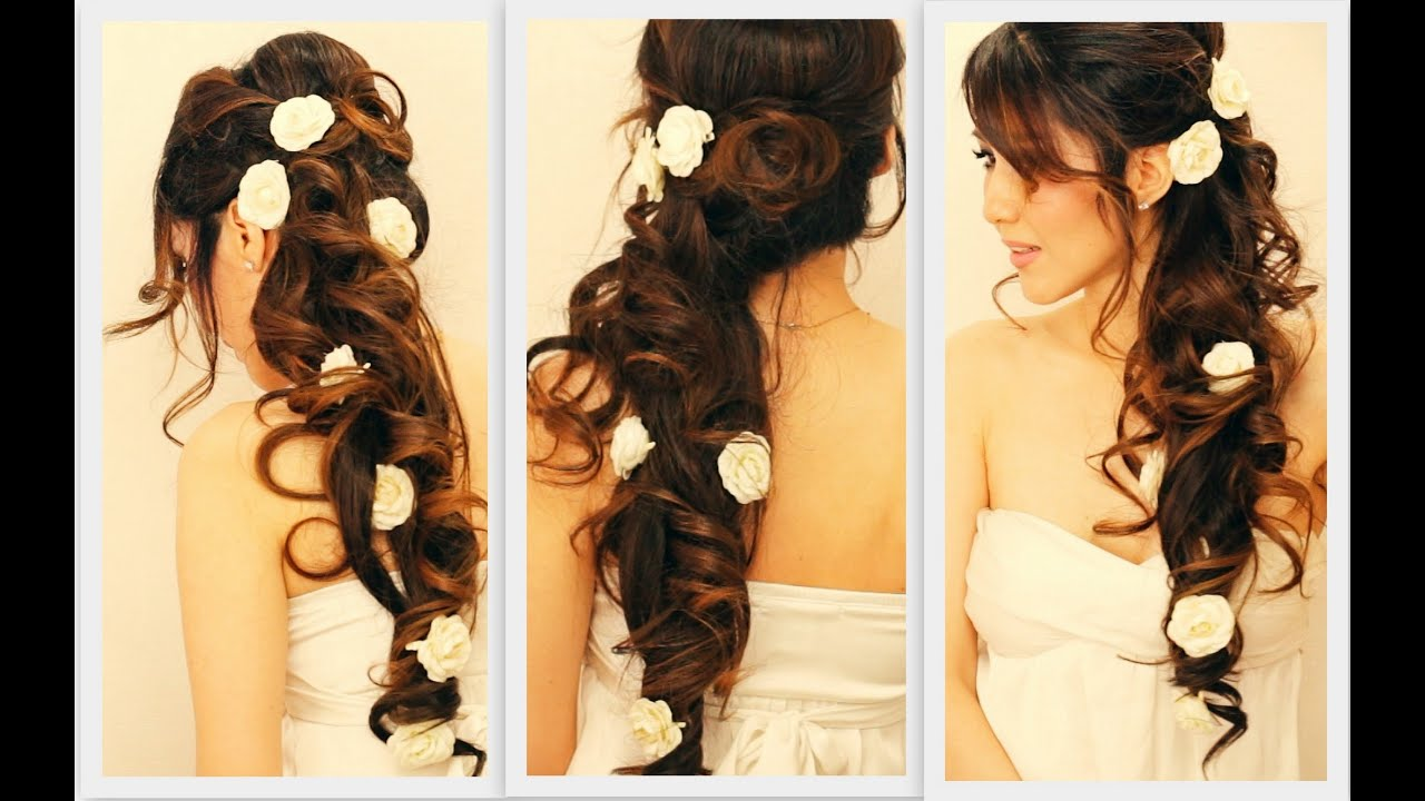 Hair Style Up For Wedding: ELEGANT SIDE-SWEPT CURLS WEDDING PROM HAIRSTYLES TUTORIAL