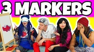 3 MARKER CHALLENGE (Descendants Evie vs Carlos vs Jay vs Lonnie Dress Up Characters)