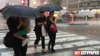 Hurricane type weather invades NYC
